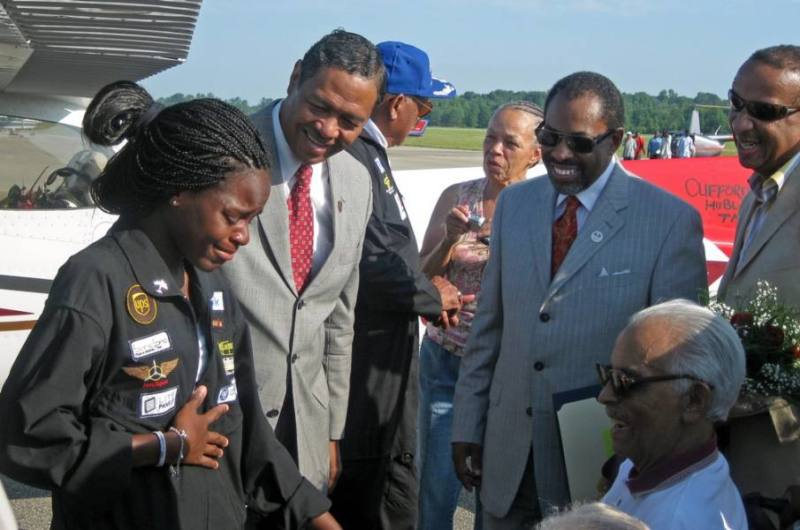 Kimberly Anyadike's emotional meeting with Tuskegee Airman Lieutenant Colonel Herbert Carter (Wheelchair) at Moton Field, Tuskegee, Alabama