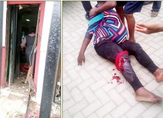 L-R: The shattered security door of the Zenith bank; A pregnant woman shot in the leg