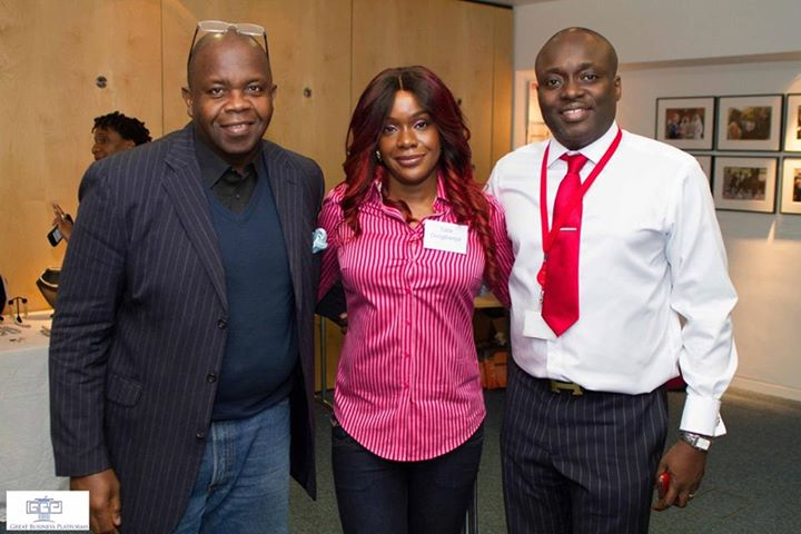 Sam Onigbanjo (R) with wife, Tola and a guest