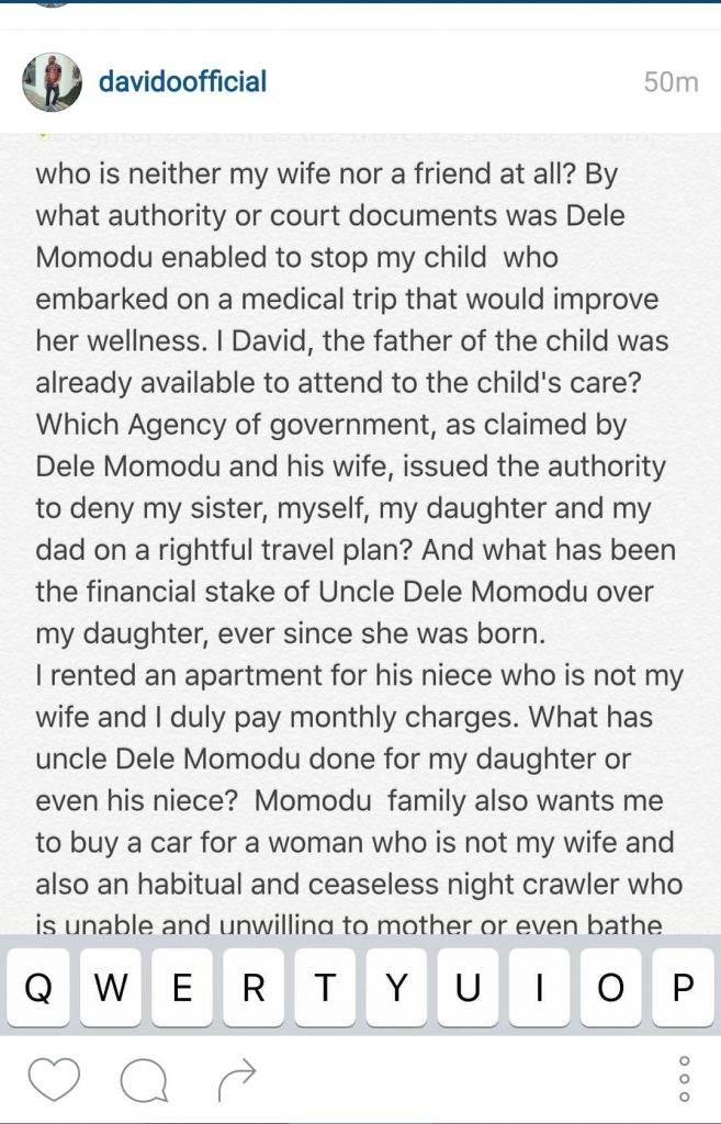 Davido Dele Momodu Ovation Social Media Instagram Quarrel Screenshot -5