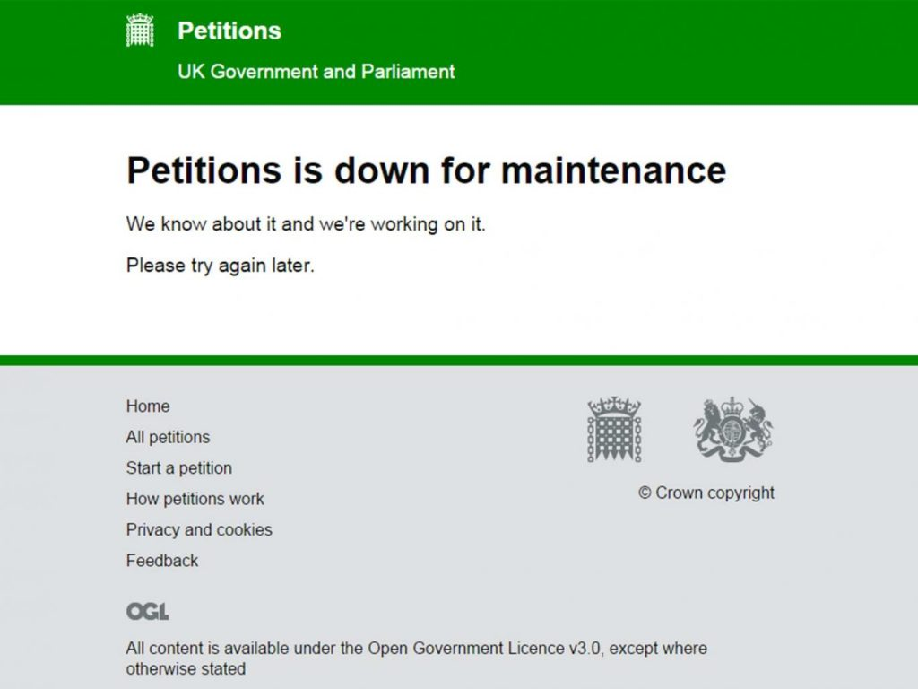 Keep Trump out of UK Crashed-petition government website