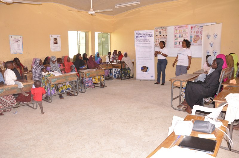 L to R Mrs. Eunice Akhigbe WBFA Midwife and Mrs Usman Midwife Delivering MaternalMonday Antenatal Class