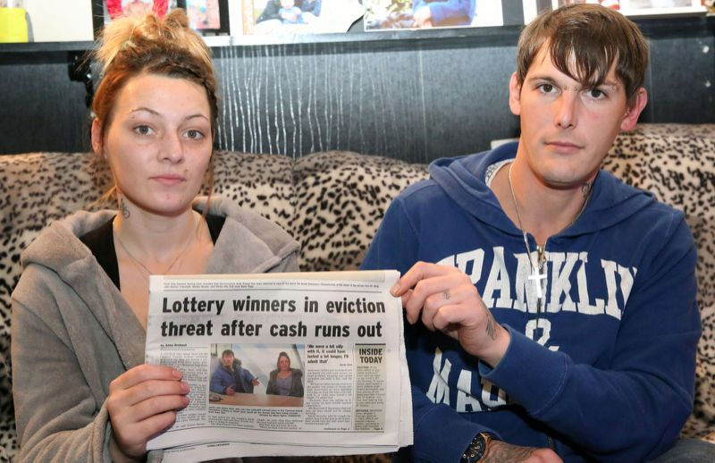 lottery couple in their flat facing eviction newspaper clipping