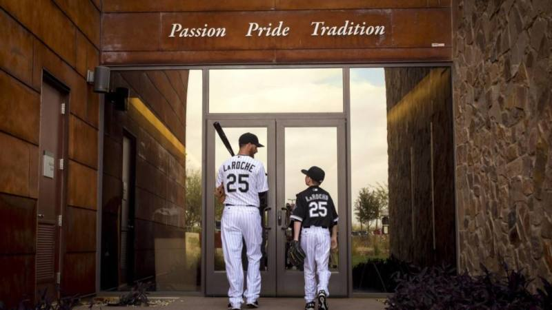 February 28, 2015 - Glendale, AZ, USA - First baseman Adam LaRoche walks back into the clubhouse with his son Drake, 13, after photo day Saturday, Feb. 28, 2015 at Chicago White Sox spring training in Glendale, Ariz. Adam LaRoche announced retirement after White Sox asked him to reduce son s clubhouse time PUBLICATIONxINxGERxSUIxAUTxONLY - ZUMAm67_ February 28 2015 Glendale AZ USA First Baseman Adam LaRoche Walks Back Into The Clubhouse with His Sun Drake 13 After Photo Day Saturday Feb 28 2015 AT Chicago White Sox Spring Training in Glendale Ariz Adam LaRoche Announced Retirement After White Sox asked him to reduce Sun s Clubhouse Time PUBLICATIONxINxGERxSUIxAUTxONLY ZUMAm67_