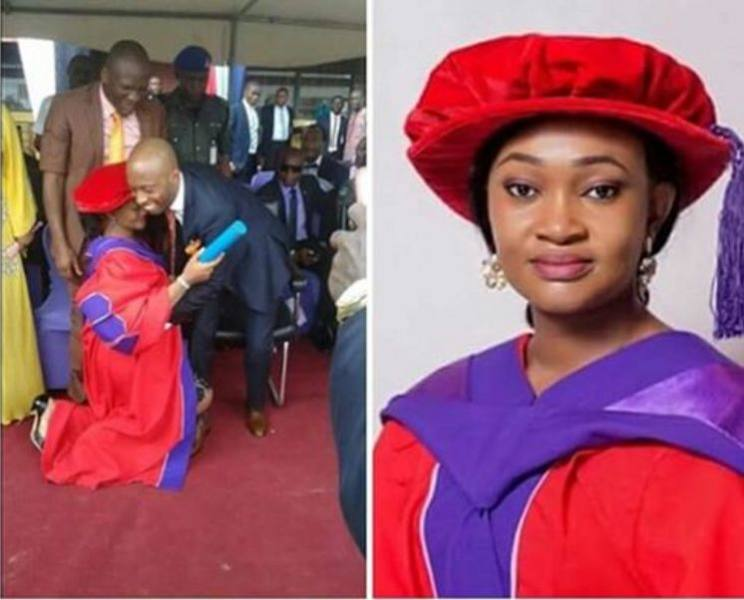 Wife kneels after PhD