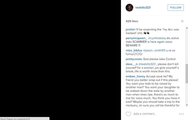 Teebillz Tiwa Savage Instagram - comments