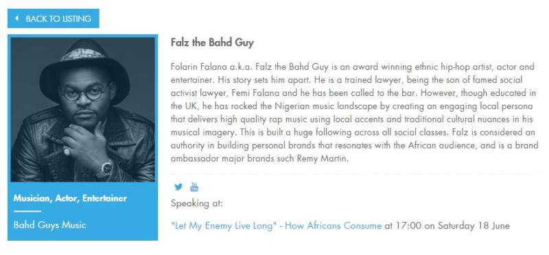 Falz The Bahd Guy Bio at Cannes