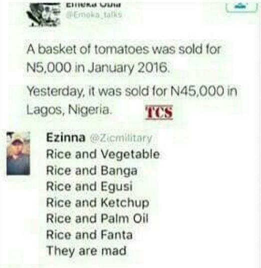 Tomato scarcity - rice and fanta