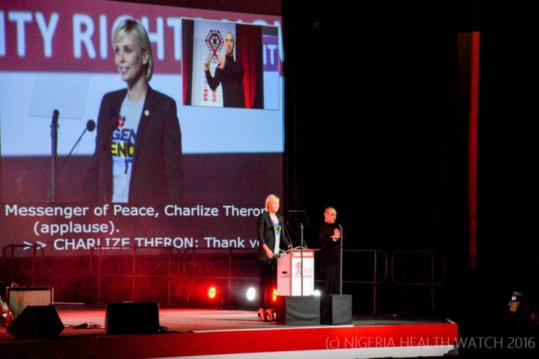 ©Nigeria Health Watch|Charlize Theron at the opening ceremony AIDS 2016