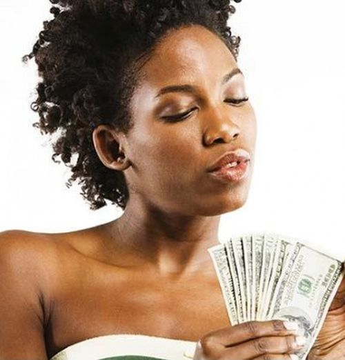 Black woman counting money