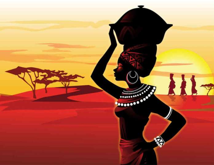 african-woman-sunset-painting