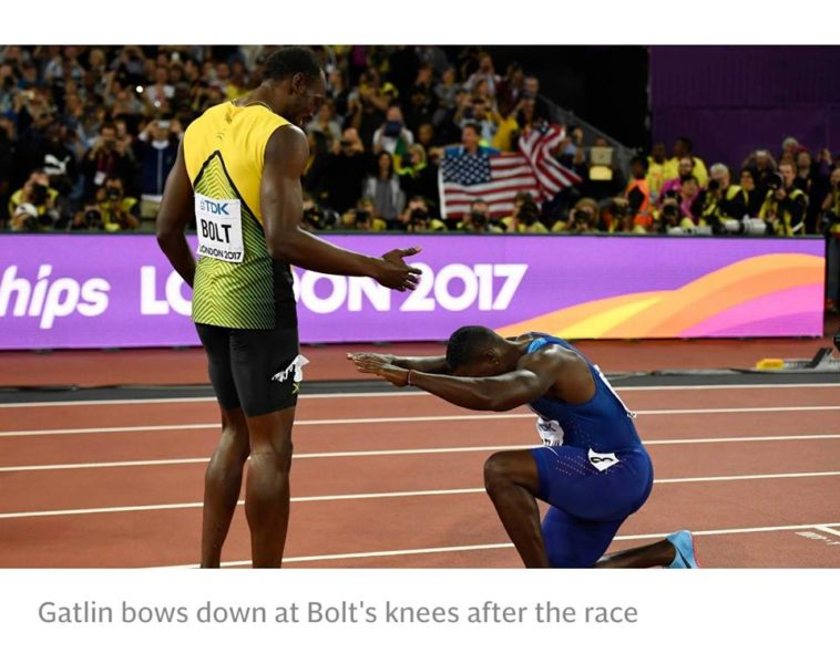 Justin Gatlin bows to Usain Bolt