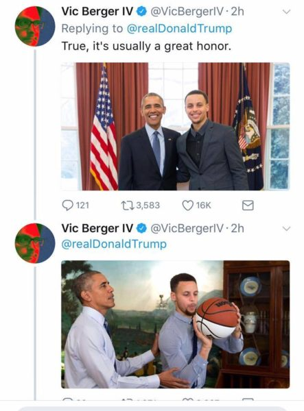 Vic Berger on Stephen Curry - White House