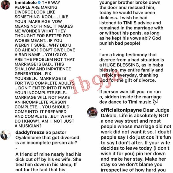 Daddy Freeze on Timi Dakolo