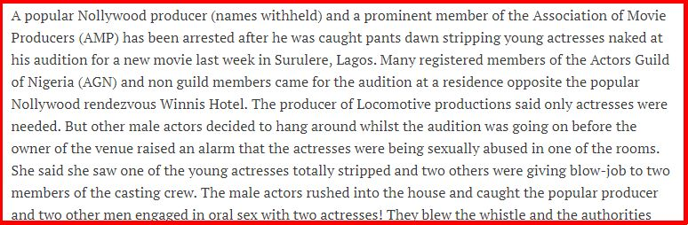 Nollywood and sexual harassment cases