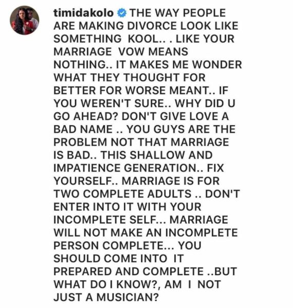 Timi Dakolo on Marriage