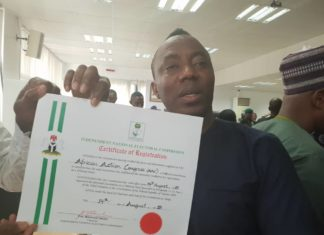 Omoyele Sowore - African Action Congress - INEC Certificate
