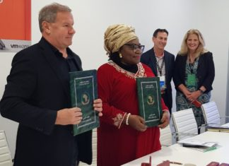 VMware Maurizio Carli signs MOU with African Union Prof. Sarah Agbor